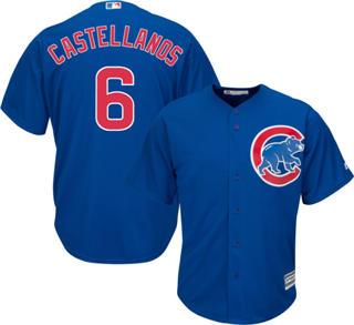 Men's Cubs #6 Nicholas Castellanos Blue New Cool Base Stitched Baseball Jersey