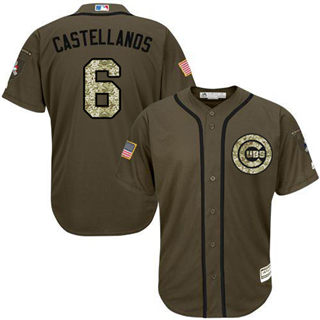 Men's Cubs #6 Nicholas Castellanos Green Salute to Service Stitched Baseball Jersey