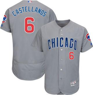 Men's Cubs #6 Nicholas Castellanos Grey Flexbase  Collection Road Stitched Baseball Jersey