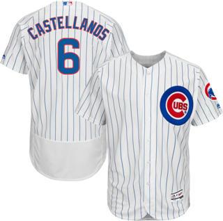 Men's Cubs #6 Nicholas Castellanos White Flexbase  Collection Stitched Baseball Jersey