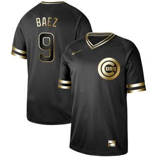 Men's Cubs #9 Javier Baez Black Gold  Stitched Baseball Jersey
