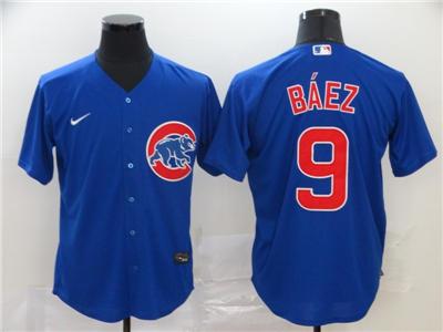 Men's Cubs #9 Javier Baez Royal 2020 Baseball Cool Base Jersey