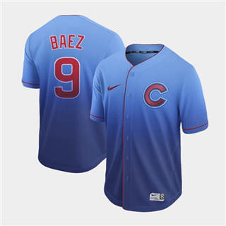 Men's Cubs #9 Javier Baez Royal Fade  Stitched Baseball Jersey