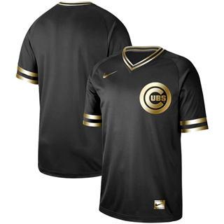 Men's Cubs Blank Black Gold  Stitched Baseball Jersey