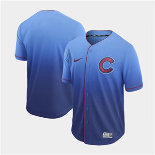 Men's Cubs Blank Royal Fade  Stitched Baseball Jersey