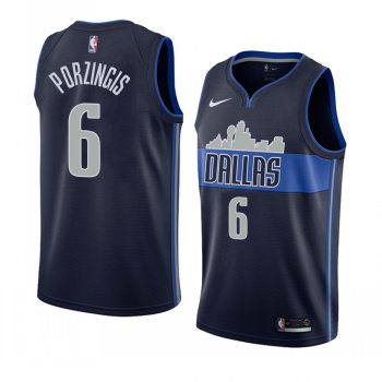 Men's Dallas Mavericks #6 Kristaps Porzingis Black Swingman Statement Edition Jersey