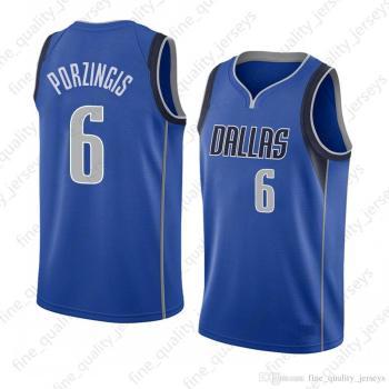 Men's Dallas Mavericks #6 Kristaps Porzingis Blue Swingman Icon Edition Jersey