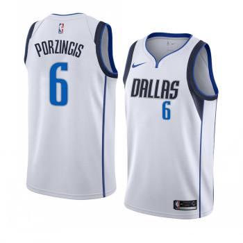 Men's Dallas Mavericks #6 Kristaps Porzingis White Swingman Association Edition Jersey