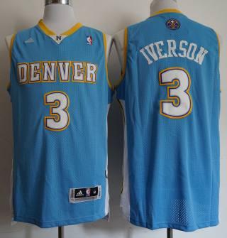Men's Denver Nuggets #3 Allen Iverson Light Blue Revolution 30 Basketball Basketball Jersey