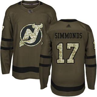 Men's Devils #17 Wayne Simmonds Green Salute to Service Stitched Hockey Jersey