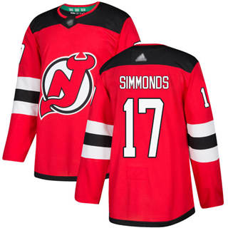 Men's Devils #17 Wayne Simmonds Red Home  Stitched Hockey Jersey