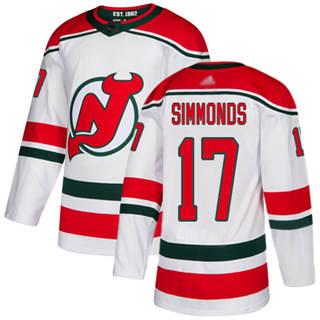 Men's Devils #17 Wayne Simmonds White Alternate  Stitched Hockey Jersey