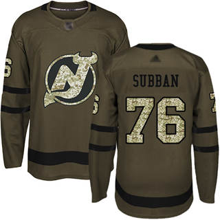 Men's Devils #76 P. K. Subban Green Salute to Service Stitched Hockey Jersey