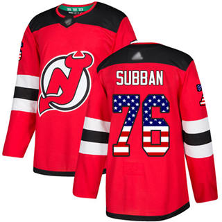 Men's Devils #76 P. K. Subban Red Home  USA Flag Stitched Hockey Jersey