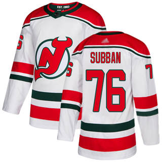 Men's Devils #76 P. K. Subban White Alternate  Stitched Hockey Jersey