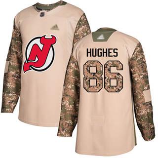 Men's Devils #86 Jack Hughes Camo  2017 Veterans Day Stitched Hockey Jersey