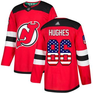 Men's Devils #86 Jack Hughes Red Home  USA Flag Stitched Hockey Jersey