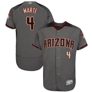 Men's Diamondbacks #4 Ketel Marte Gray Flexbase  Collection Stitched Baseball Jersey
