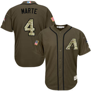 Men's Diamondbacks #4 Ketel Marte Green Salute to Service Stitched Baseball Jersey