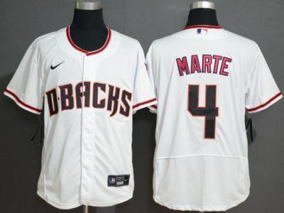 Men's Diamondbacks #4 Ketel Marte White Baseball Flexbase Jersey