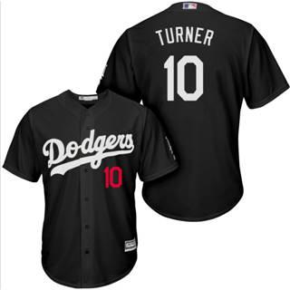 Men's Dodgers #10 Justin Turner Black Turn Back The Clock Stitched Baseball Jersey