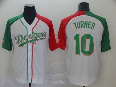 Men's Dodgers #10 Justin Turner White Red Green Split Cool Base Stitched Baseball Jersey