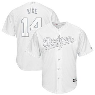 Men's Dodgers #14 Enrique Hernandez White Kike Players Weekend Cool Base Stitched Baseball Jersey
