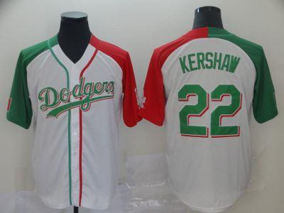 Men's Dodgers #22 Clayton Kershaw White Red Green Split Cool Base Stitched Baseball Jersey