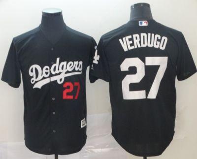 Men's Dodgers #27 Alex Verdugo Black Turn Back The Clock Stitched Baseball Jersey
