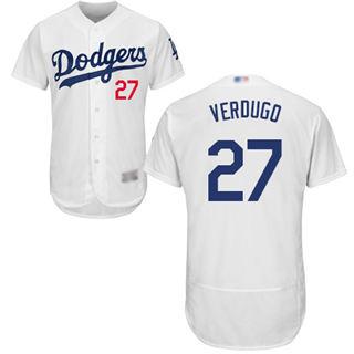 Men's Dodgers #27 Alex Verdugo White Flexbase  Collection Stitched Baseball Jersey