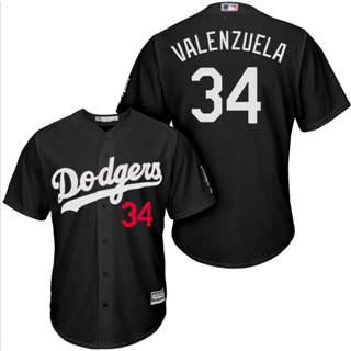 Men's Dodgers #34 Fernando Valenzuela Black Turn Back The Clock Stitched Baseball Jersey