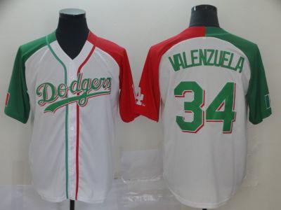 Men's Dodgers #34 Fernando Valenzuela White Red Green Split Cool Base Stitched Baseball Jersey