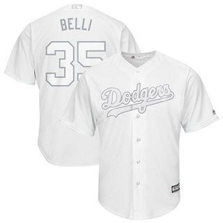 Men's Dodgers #35 Cody Bellinger White Belli Players Weekend Cool Base Stitched Baseball Jersey