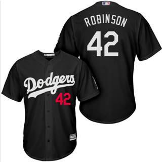 Men's Dodgers #42 Jackie Robinson Black Turn Back The Clock Stitched Baseball Jersey