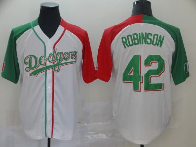 Men's Dodgers #42 Jackie Robinson White Red Green Split Cool Base Stitched Baseball Jersey