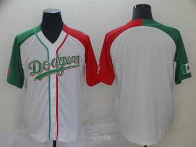 Men's Dodgers Blank White Red Green Split Cool Base Stitched Baseball Jersey