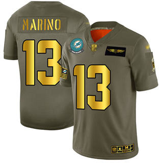 Men's Dolphins #13 Dan Marino Camo Gold Stitched Football Limited 2019 Salute To Service Jersey