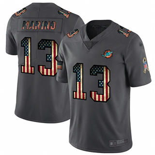 Men's Dolphins #13 Dan Marino Carbon Black Stitched Football Limited Retro Flag Jersey