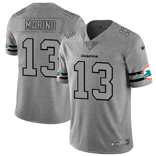 Men's Dolphins #13 Dan Marino Gray Stitched Football Limited Team Logo Gridiron Jersey