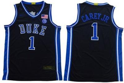 Men's Duke Blue Devils #1 Vernon Carey Jr. Black Basketball 2019 Stitched College Jersey