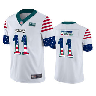 Men's Eagles #11 Carson Wentz White Stitched Football Limited Independence Day Jersey