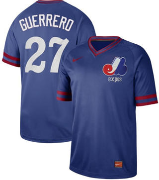 Men's Expos #27 Vladimir Guerrero Royal  Cooperstown Collection Stitched Baseball Jersey