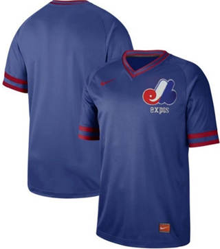 Men's Expos Blank Royal  Cooperstown Collection Stitched Baseball Jersey