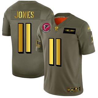 Men's Falcons #11 Julio Jones Camo Gold Stitched Football Limited 2019 Salute To Service Jersey