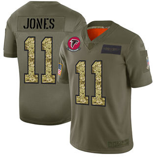 Men's Falcons #11 Julio Jones Olive Camo Stitched Football Limited 2019 Salute To Service Jersey