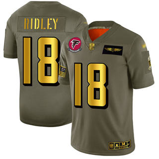 Men's Falcons #18 Calvin Ridley Camo Gold Stitched Football Limited 2019 Salute To Service Jersey