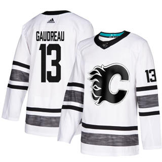 Men's Flames #13 Johnny Gaudreau White  2019 All-Star Stitched Hockey Jersey