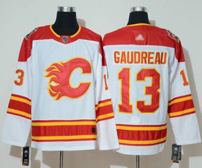 Men's Flames #13 Johnny Gaudreau White Authentic 2019 Heritage Classic Stitched Hockey Jersey