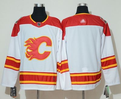 Men's Flames Blank White Authentic 2019 Heritage Classic Stitched Hockey Jersey