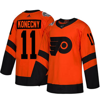 Men's Flyers #11 Travis Konecny Orange  2019 Stadium Series Stitched Hockey Jersey